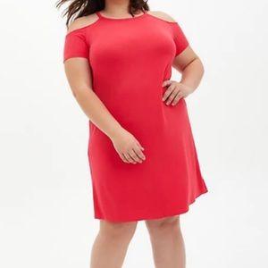 🆕 Soft Berry Cold Shoulder T-Shirt Dress 2X 18 20